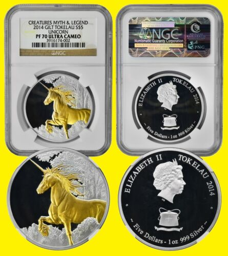 2014 UNICORN 1 oz Silver UNICORN  GILT NGC   PF 70 ULTRA CAMEO