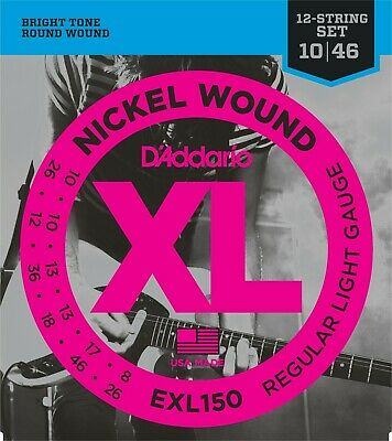 D'Addario EXL150 Nickel Wound 12-String Electric Guitar Regular Light 10-46 ()