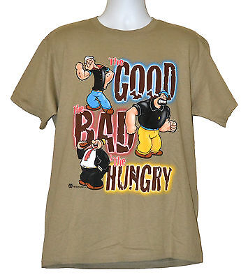 Popeye T Shirt Good  Bad   Hungry Graphic Tee Khaki Cotton Nwt
