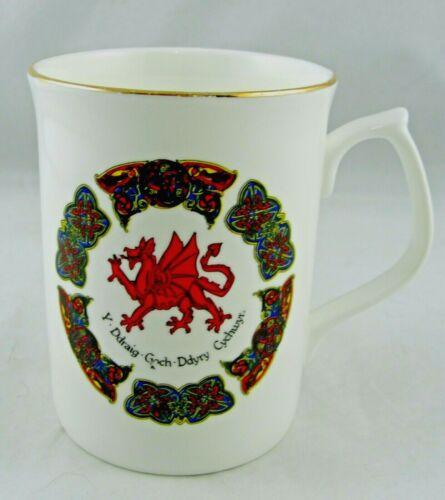 """Welsh Dragon Bone China Cup Mug by Crochendy Crefftaur Cantref 3 5/8"""" Wales (M1)"""