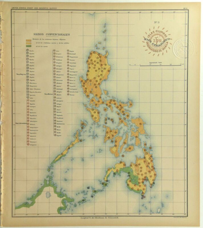 1899 Official US Navy Map Philippine Islands Ethnographical Indigenous Tribes