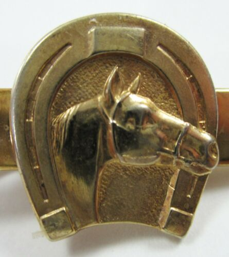 Vintage Horseshoe Shetland Pony Horse Tie Clip Carlile Pony Farms OK Gold Tone