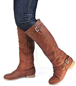 New Womens TC1 Tan Black Cognac Buckle Riding Knee High Boots sz 5 to 10