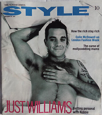 ROBBIE WILLIAMS Magazine Sunday Times STYLE - Robbie Cover  2001 + 2 Page Articl