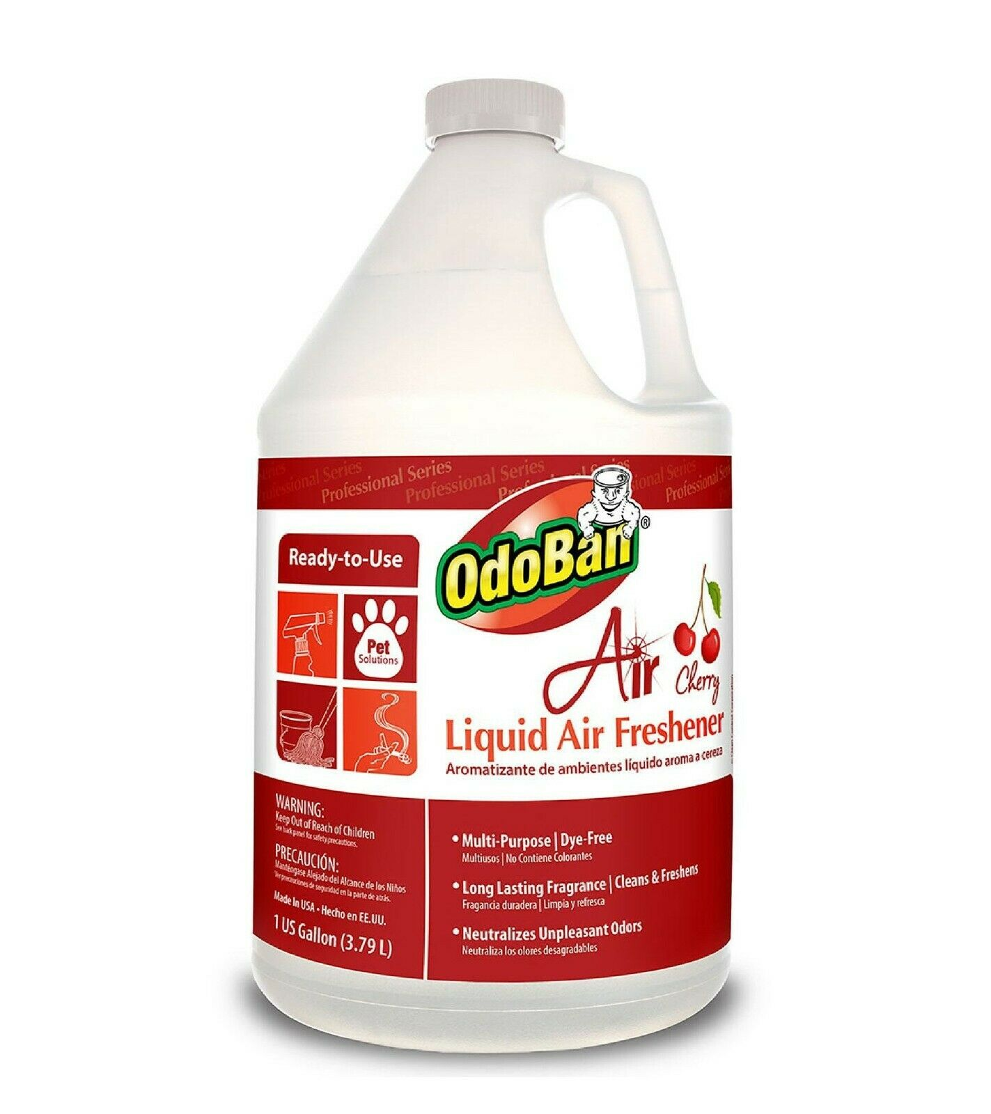 OdoBan 977362-G Air Cherry Liquid Air Freshener, 1 Gallon Bo