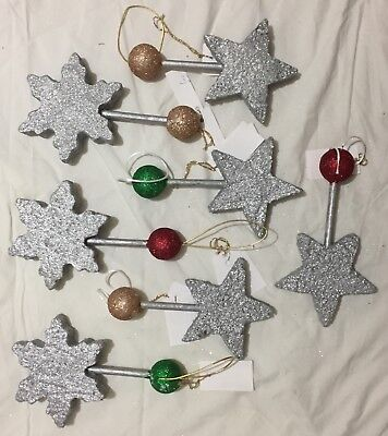7x SILVER GLITTER MAGIC WANDS – XMAS DECORATIONS - New with Tags Gold & Silver