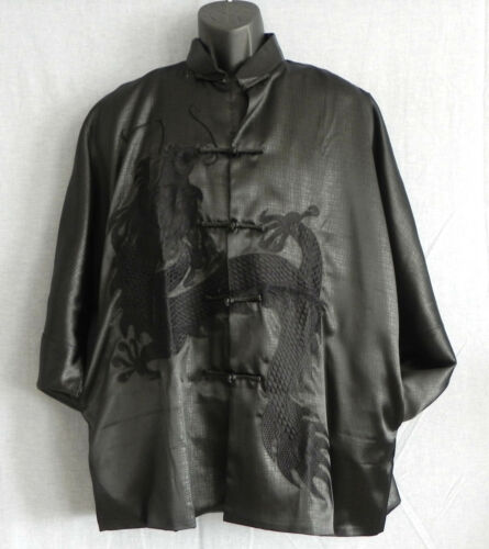 Laogudai Mandarin Jacket Black Shinny Dragon Embroidery Trim Pockets Size L