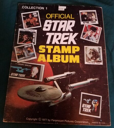 OFFICIAL STAR TREK STAMP ALBUM, COLLECTION 1, 1977, ALL STAMPS INCLUDED