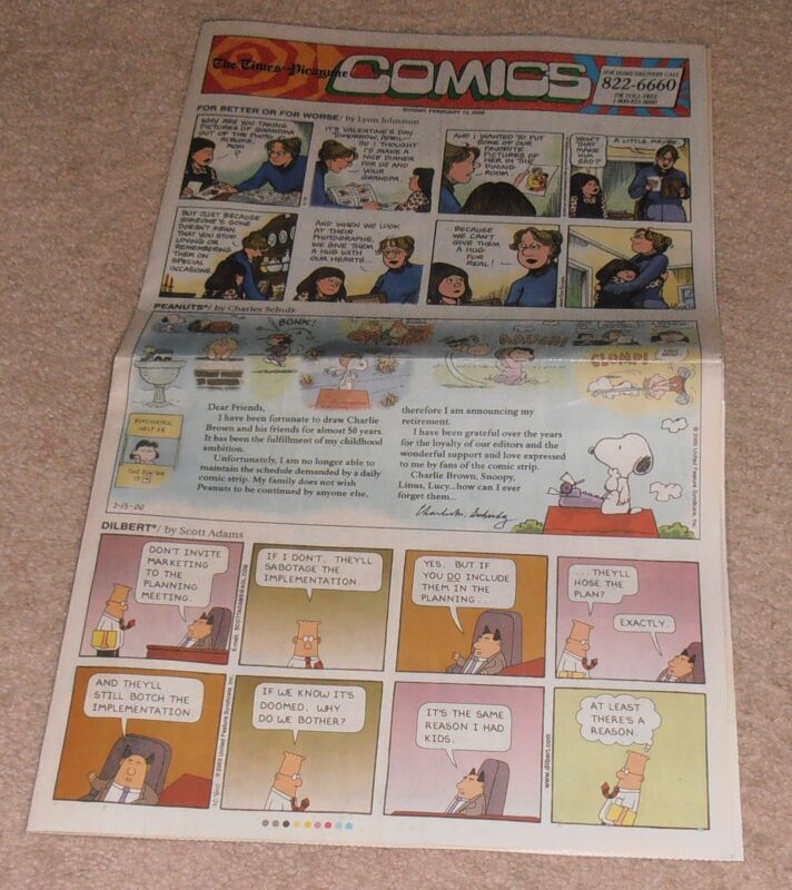 VINTAGE FEB. 13, 2000 CHARLES SCHULTZ PEANUTS LAST COMIC STRIP LAMINATED