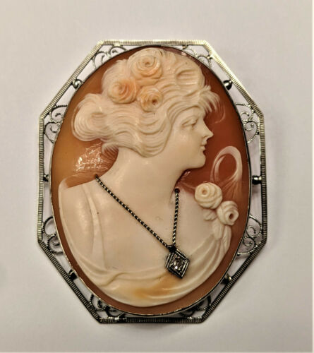 Very Large Vintage 14k Gold Hand Carved Habille Diamond Shell Cameo