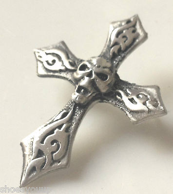 CROSS OF DEATH GOTHIC BIKER Hand Made in UK Pewter Lapel Pin Badge
