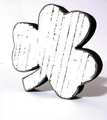ST PATRICKS DAY WOODEN SHAMROCK DECORATION RUSTIC WHITE HAND MADE AND PAINTED
