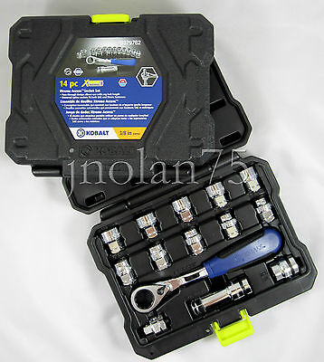 Kobalt Xtreme Access Extreme 14 Pc Pass Through Tool Set 3/8 Ratchet Socket Set
