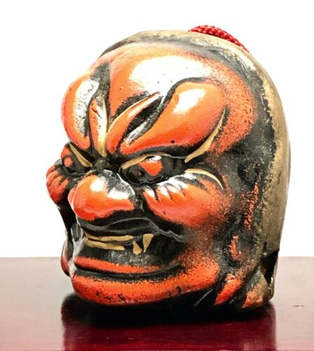 Japanese Clay Bell Dorei Noh Face Head Mask Vintage Red Demon Guardian Pottery