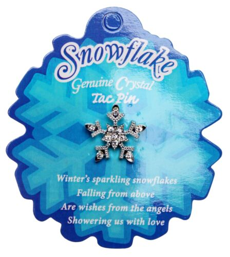 SPARKLING SMALL SNOWFLAKE TAC PIN  on POEM CARD silvertone  ~   Set of 12  !!!