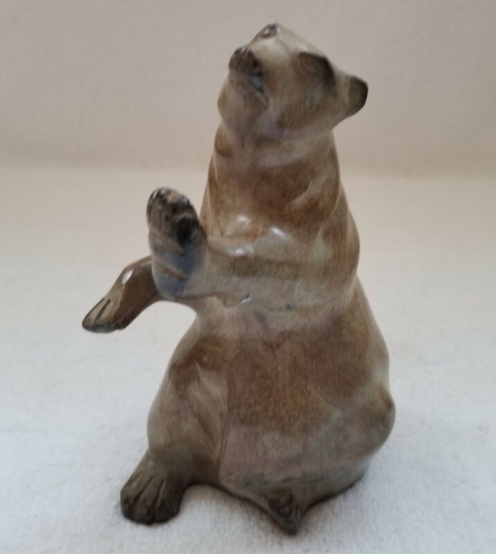"""STANDING BROWN BEAR CAST IRON HEAVY 7""""  MADE IN INDIA"""