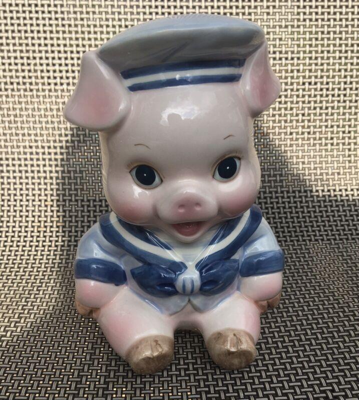 "Vintage Enesco 6"" Glossy Ceramic Sailor Pig Small Piggy Bank Adorable Baby Cute"