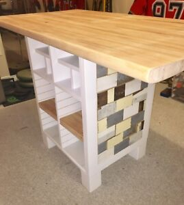 Custom made kitchen island built from reclaimed wood