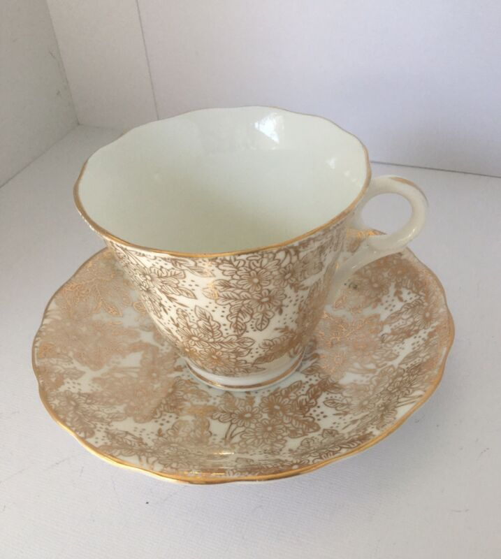 Gold Floral, Genuine Bone China Cup & Saucer, England
