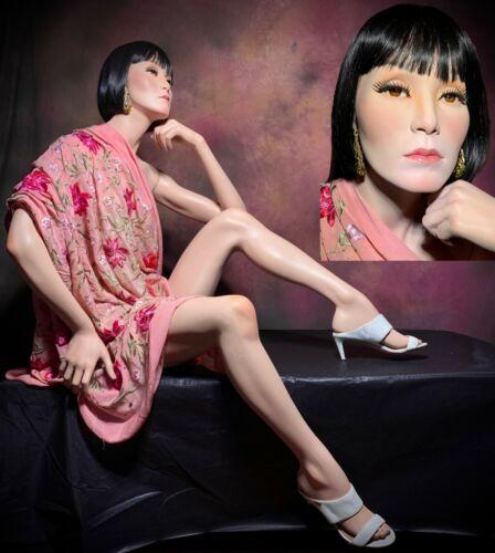 Vintage Asian Ethnic Female Mannequin Realistic Full Sitter MOVING Eyes Greneker
