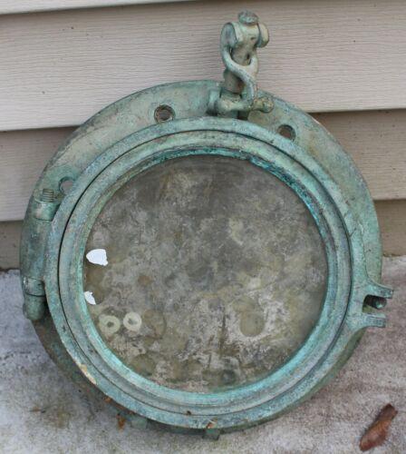 Original Antique SOLID BRASS Maritime Ship PORTHOLE 10 ½ inch diameter PATINA