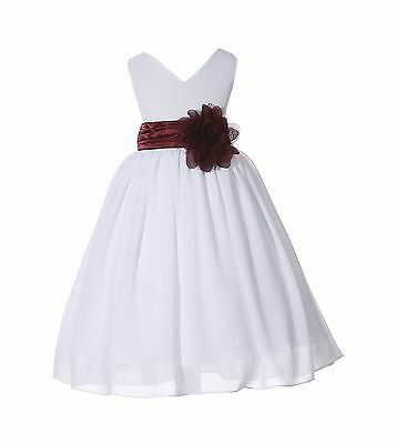 White Chiffon Flower Girl Dresses (Elegant Yoryu Chiffon White Flower Girl Dresses Pageants Birthday Recital)