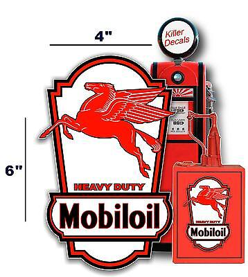 """(MOBI-LUB-3) 6"""" MOBIL PEGASUS OIL CAN LUBSTER PROJECT DECAL GAS PUMP"""