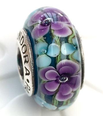 NEW Authentic Pandora 925 silver murano bead charm  purple flower