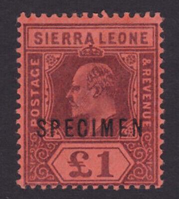 Sierra Leone. 1903. SG 85s, £1 purple/red, specimen. Fine mounted mint.