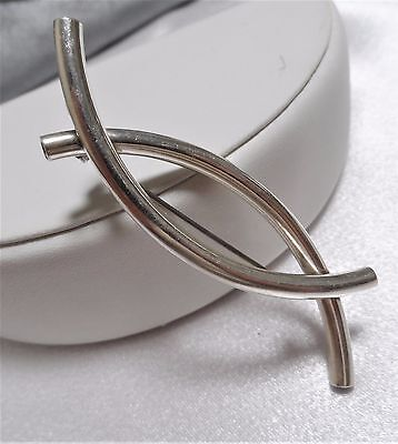 Modernist Abstract Sterling Silver 925 Tube Bar Brooch Pin Brooch Mexico VGC