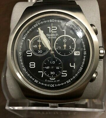Men's Stainless Steel IRONY SWATCH Chronograph Watch Y0S436G 4 Jewels NEW