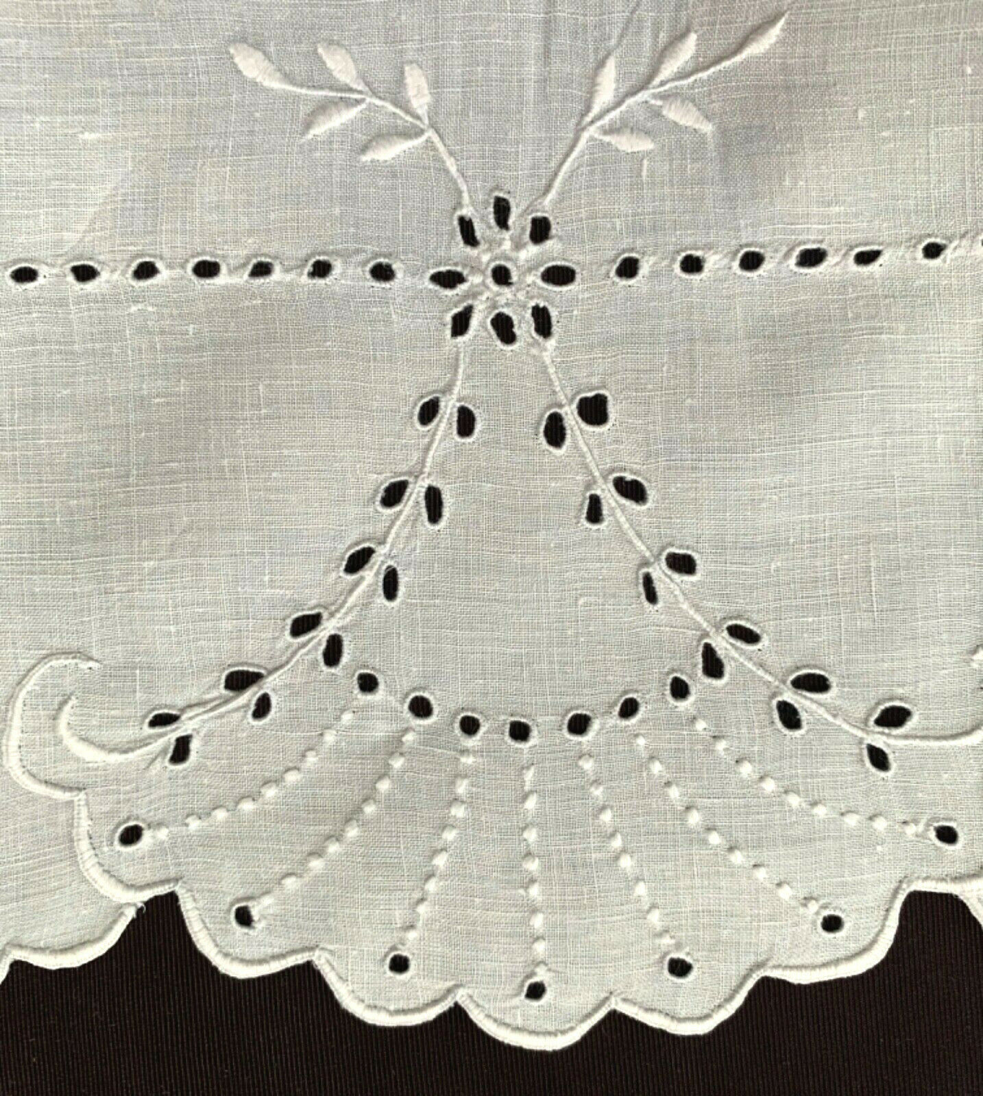"""fine antique Madeira linen runner 42 x 17"""" w fan embroidery+lots of cutwork exc"""