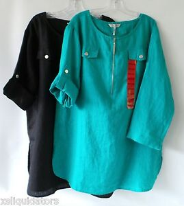 New Womens Ellen Tracy Shirt Blouse 3 4 Sleeve Zip Linen