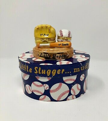 Baseball First Tooth First Curl Hinged Trinket Box Keepsake