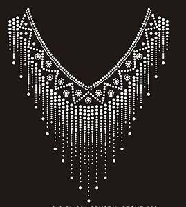 Decoration Rhinestone iron on Bling Transfer DIY Hot fix Applique V neckline 4mm