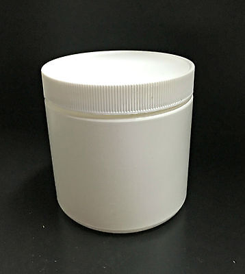 Small White Plastic Canister/Container with Lid - Container With Lid