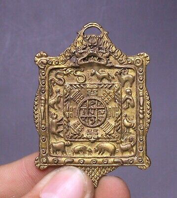 6CM Collect Old China Bronze Fengshui 12 Zodiac Year Animal Amulet Pendant