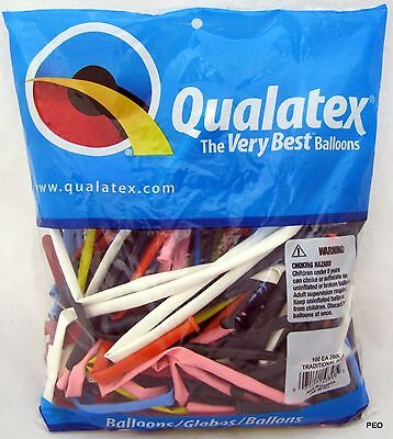 Qualatex Balloons Traditional Assort Animal Twist Multi 100 count bag 260 size - Twisting Balloons