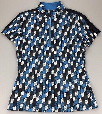 Tail Golf Women's Medium Sleeveless 1/4 Zip Mock Neck Shirt Viper Blue Black