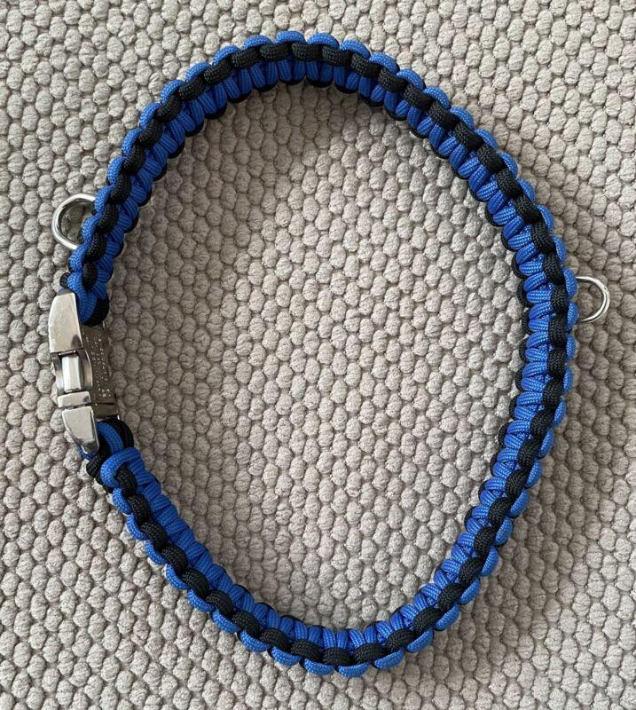 "Thin Blue Line Paracord Dog Collar 19"""