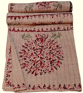 Tree Of Life QUEEN KANTHA QUILT~BEDSPREAD~TAPESTRY INDIA ETHNIC HANDMADE GUDRI