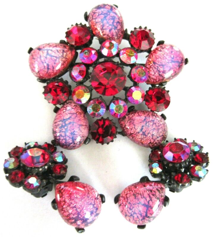 CLAUDETTE Pink & Red Rhinestone Cats Eye Cabochon Vintage Pin Earring Set