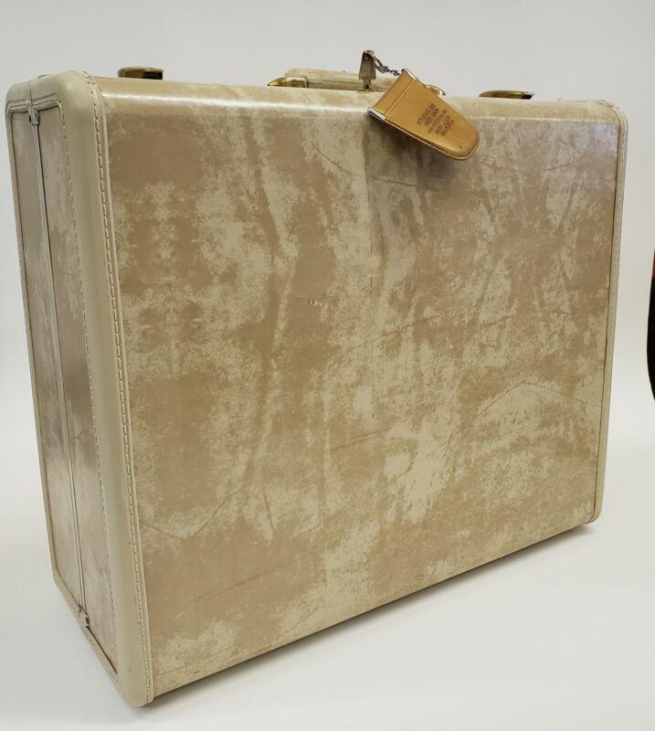 """Vintage Samsonite Shwayder White Beige Marble 21"""" Suitcase Hard Luggage with Key"""