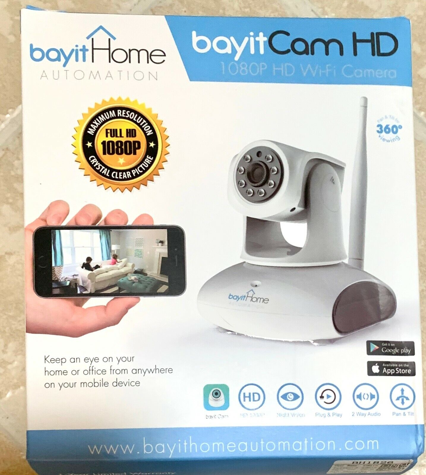Bayit Cam Pro Full HD1080P WiFi/IP Camera Wireless Pan/Tilt