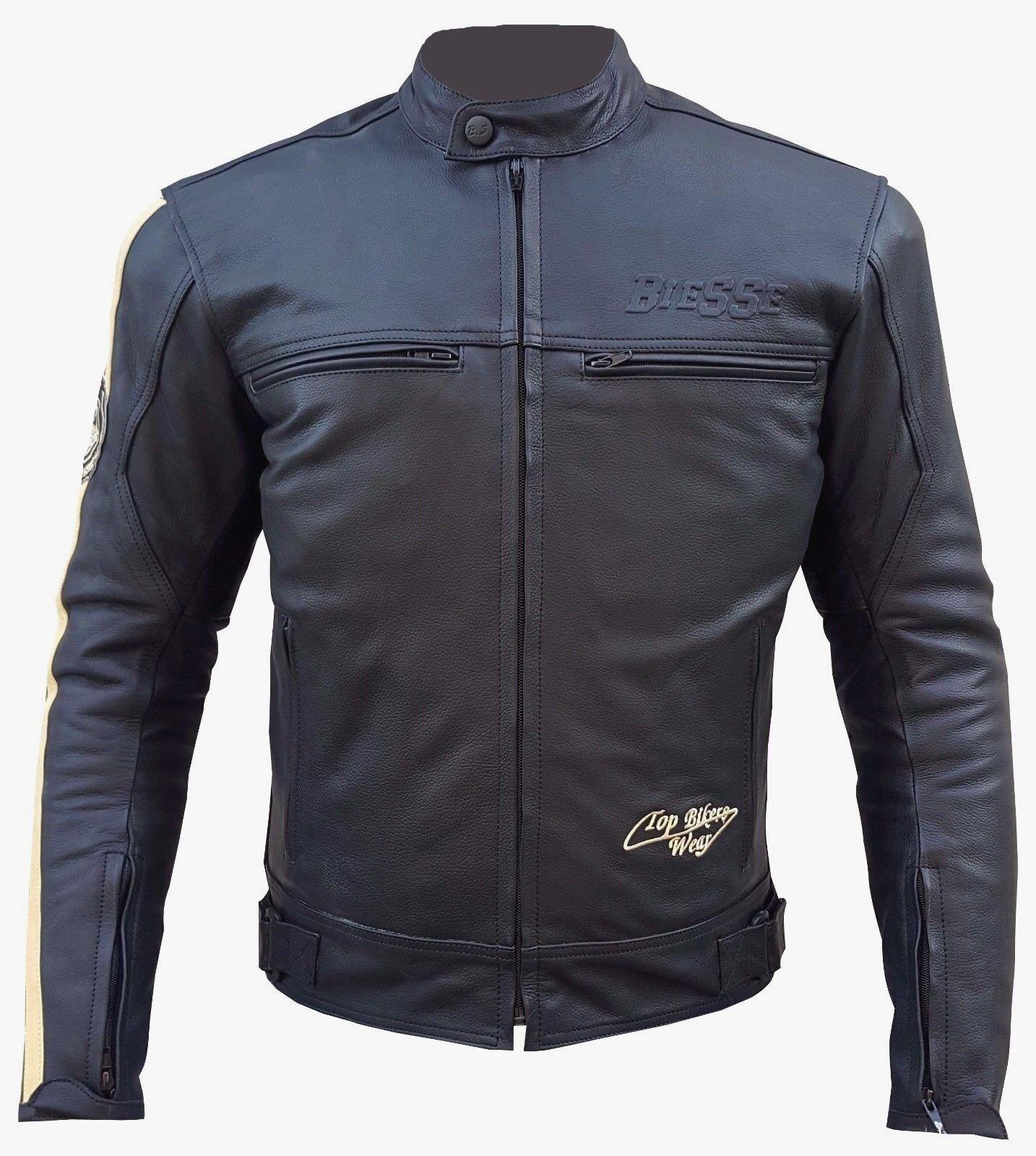 Giacca Giubbotto Moto Pelle Uomo Protezioni CE XS S M L XL XXL XXXXL 58 VINTAGE