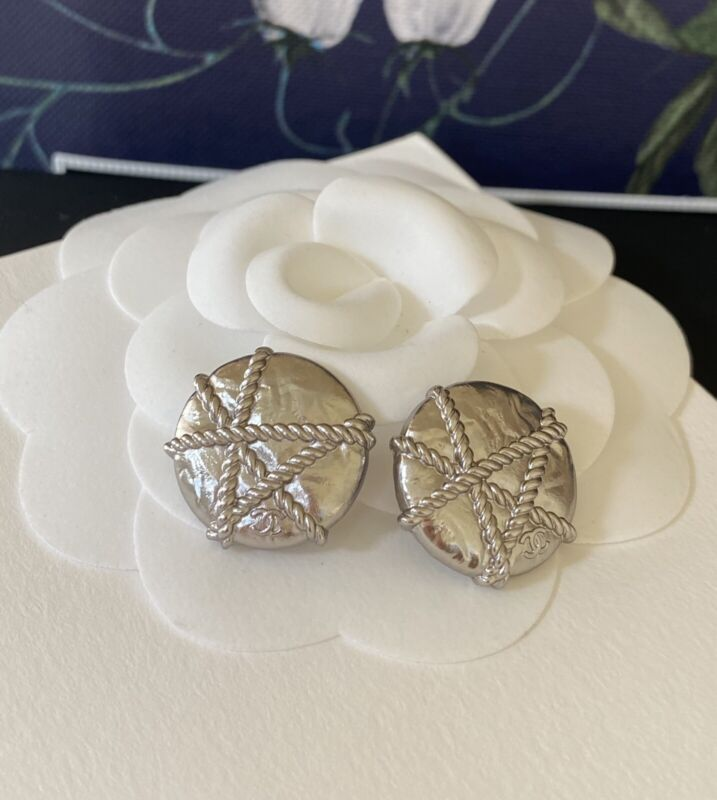 Authentic CHANEL buttons Silver Tone Rope Wrap Style CC Logo 18 MM Set Of 2