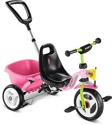 Puky 2225 Dreirad Cat 1S Rose/Kiwi Kinderdreirad Schiebestange Handbremse Pink