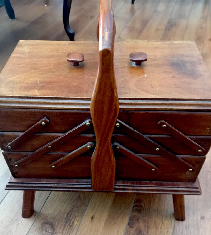 Vintage According Sewing Box Legs Stand Dovetailed Mid Century Local Pickup Only