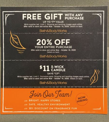 Bath Body Works 20 OFF Entire Purchase, 11 Candle Gift Coupons Ex 10/18/20 - $18.00