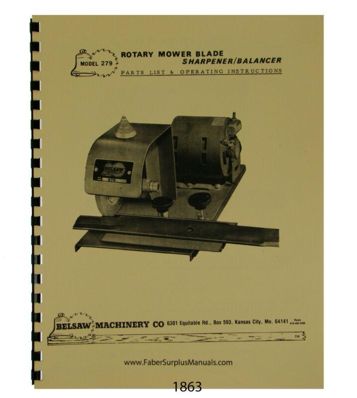 Foley Belsaw  Mower Blade Sharpener Balancer Op & Parts Manual #1863